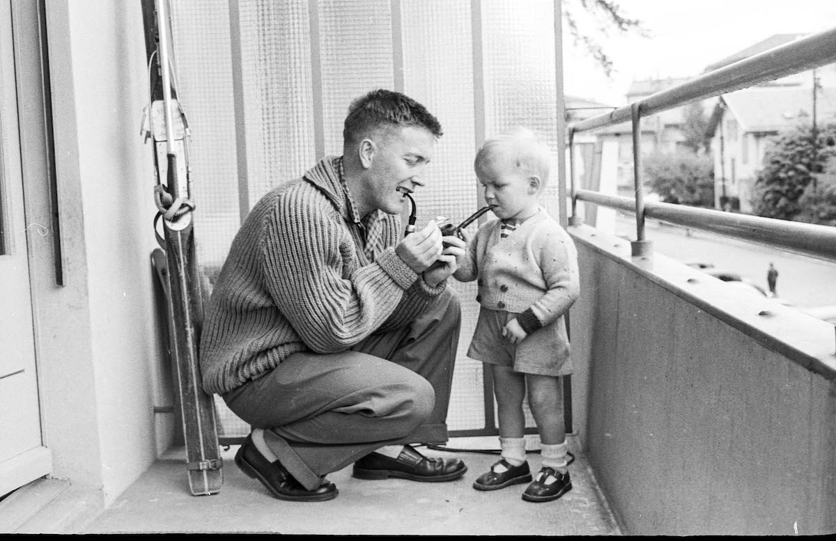 Father and Child Vintage Candid Photo