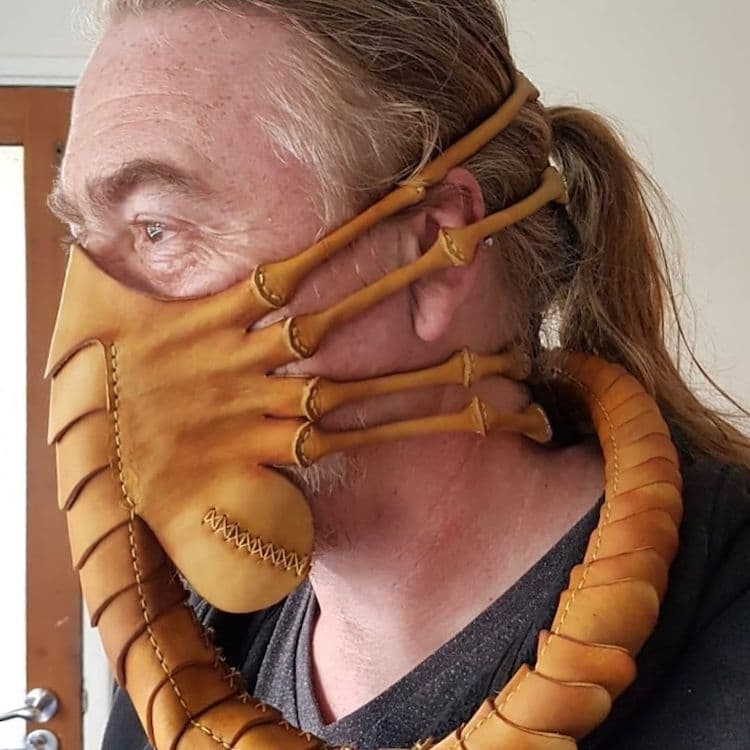 Leather Alien Facehugger Face Mask by Pirate's Leatherworks