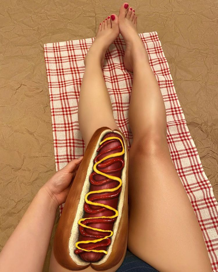 Makeup Artist Creates Body Paint Illusion Of Food On Skin