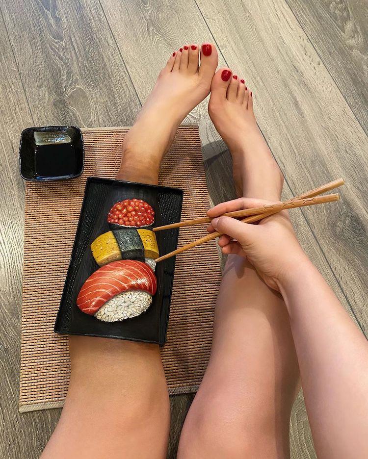 Makeup Artist Creates Body Paint Illusion Of Food On Skin