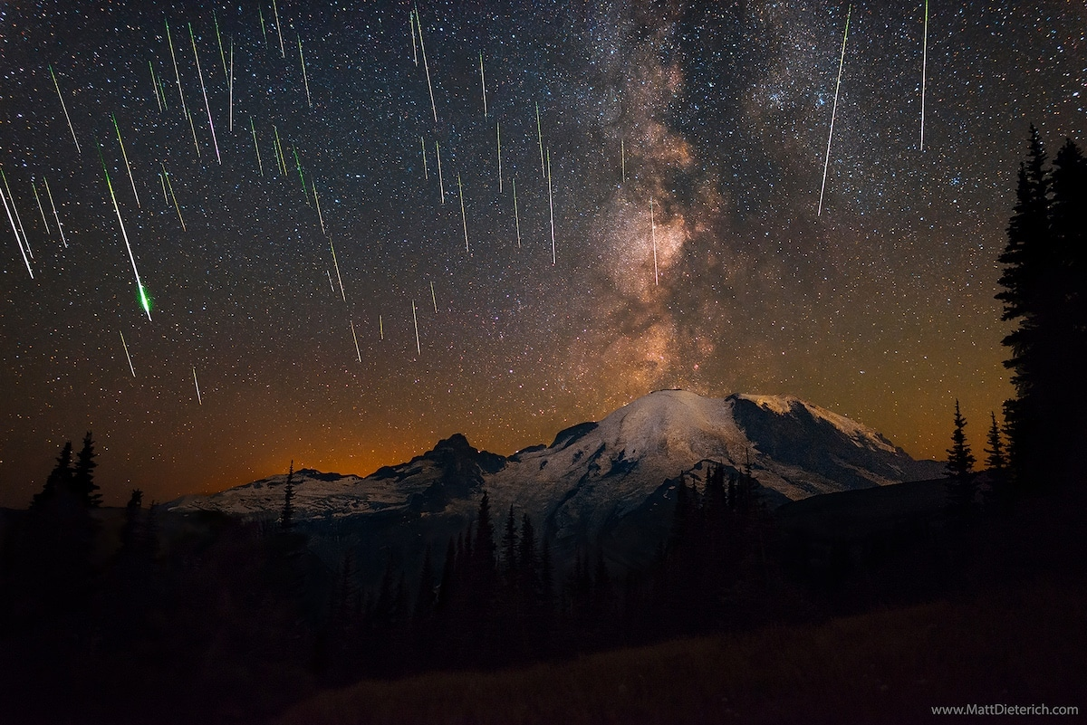 Perseid Meteor Shower of Mt Rainier by Matt Dieterich