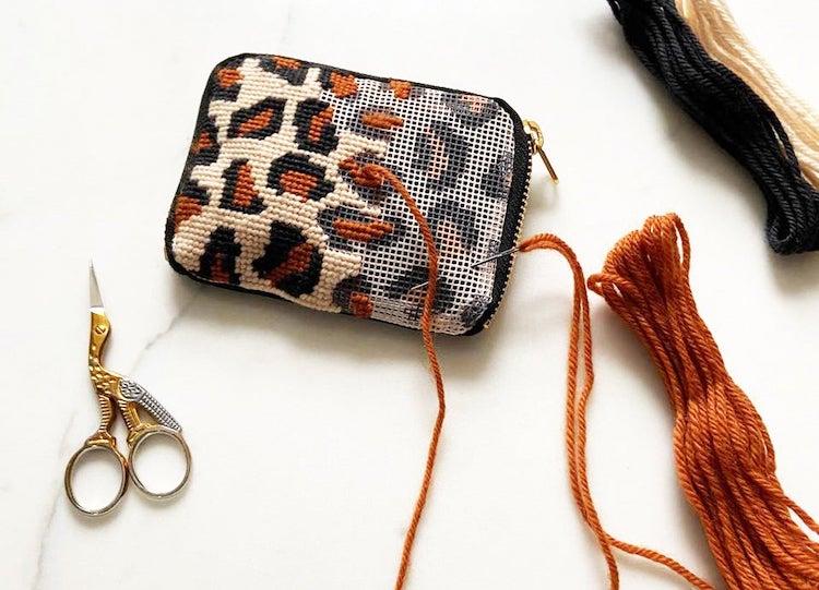 Leopard Pouch Needlepoint Kit
