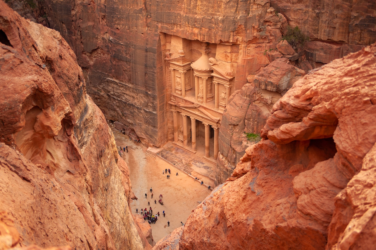 Aerial View of the Treasury in Petra
