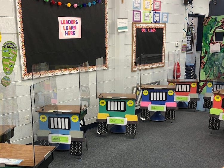 Teachers Transform School Desks into Jeeps for Social Distancing