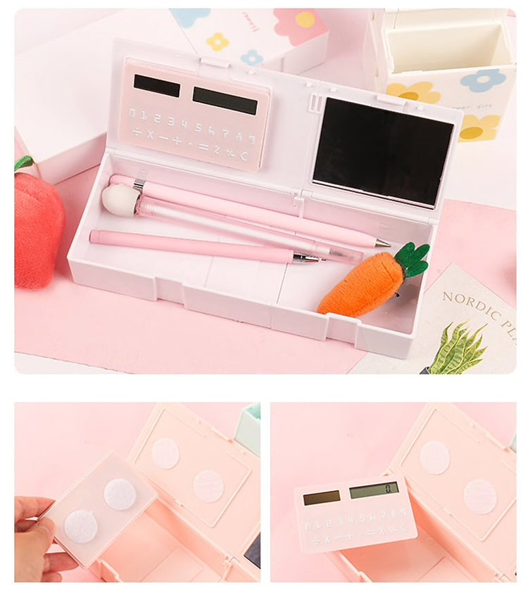 Stationery Box with Calculator and Mirror