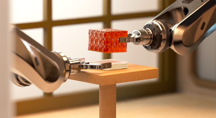 Robotic Arms Assemble Sushi