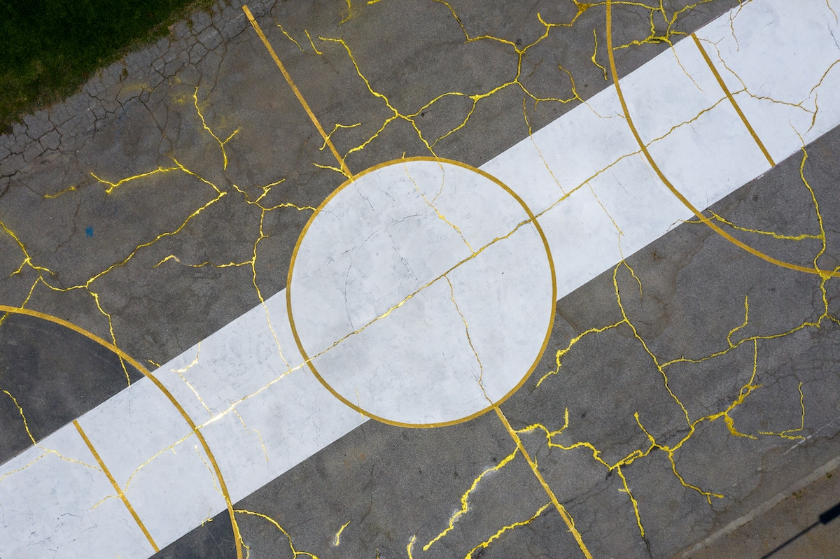 Basketball Court Artwork Using Kintsugi