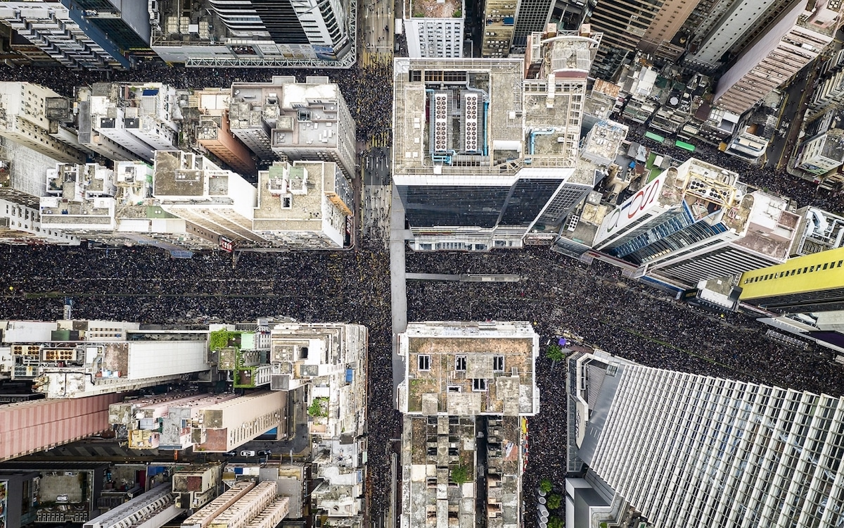 Overhead View of Protesters Marching in Hong Kong