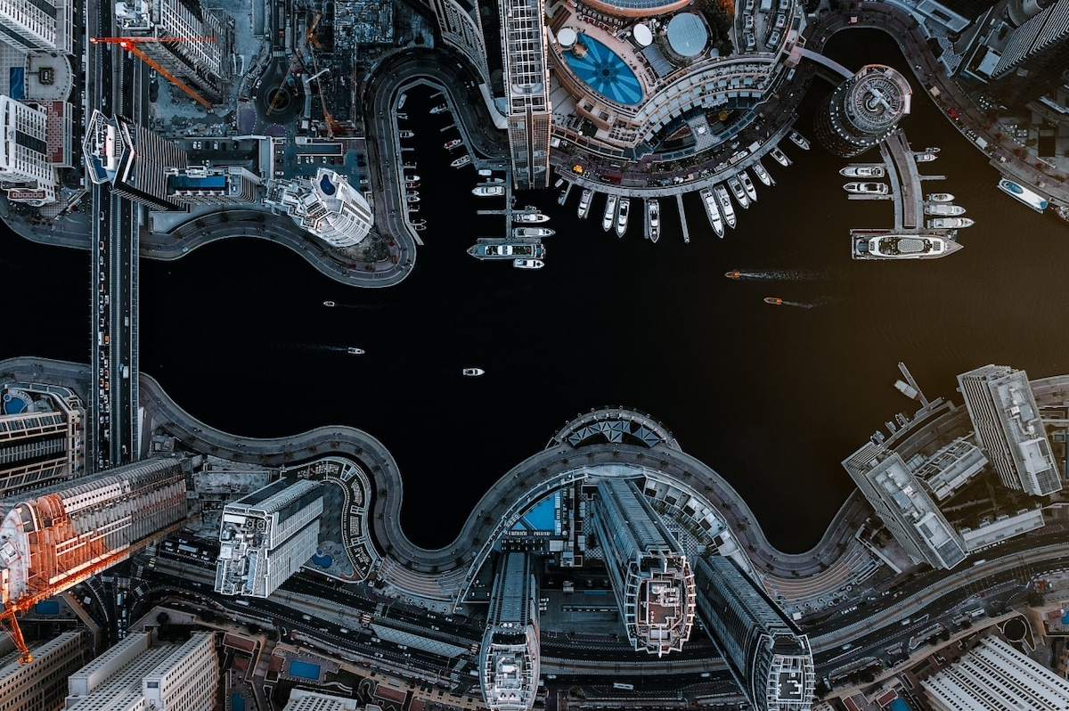 Dubai Marina as Seen from a Drone
