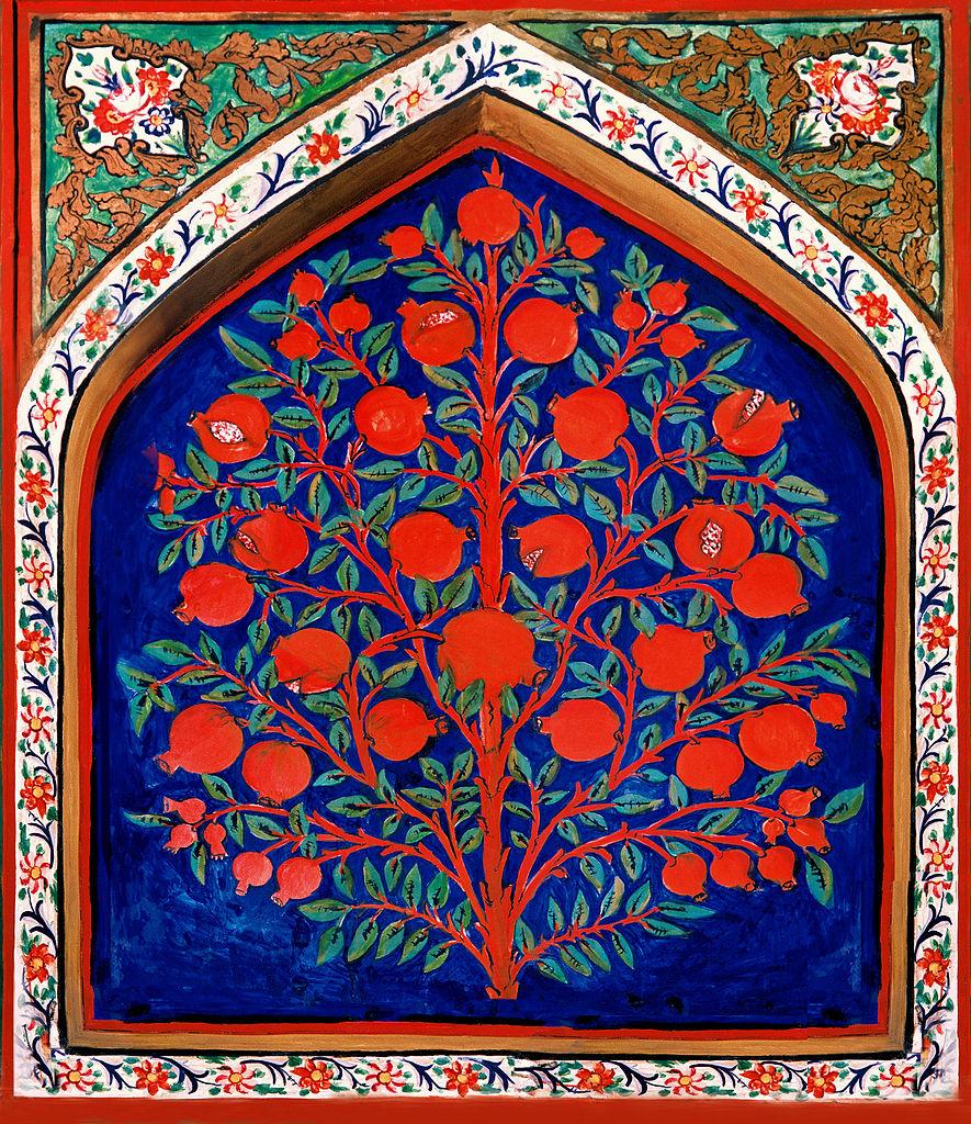 Pintura del árbol de la vida en el Palacio de Shaki Khan