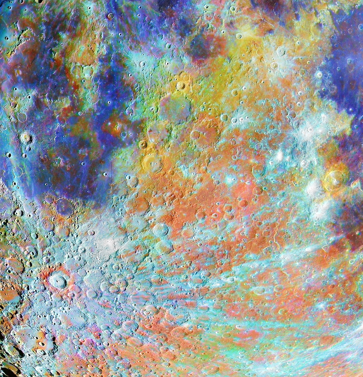 Colorful Craters on the Moon