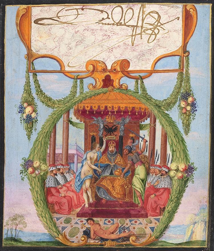 Emperador del Sacro Imperio Romano Rodolfo II en el libro de la amistad de Hainhofer