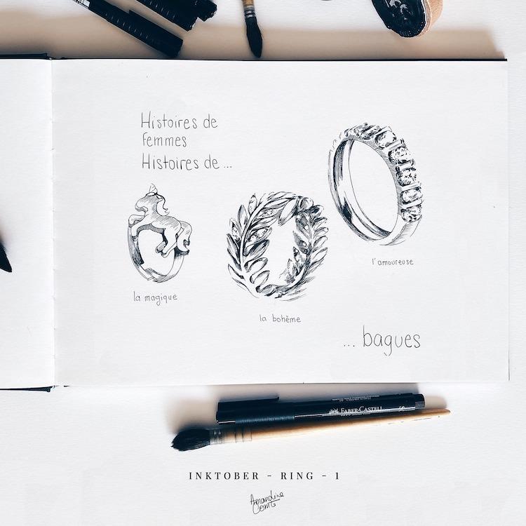 Dessins d'anneaux à l'encre Inktober