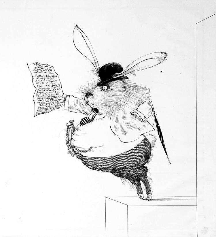 Original Drawing White Rabbit By Ralph Steadman