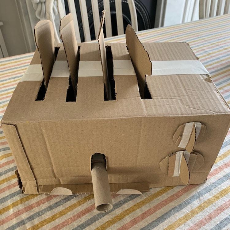 Cardboard artist Sydney Piercey toaster