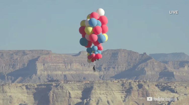David Blaine Floating Over Arizona with Helium Balloons