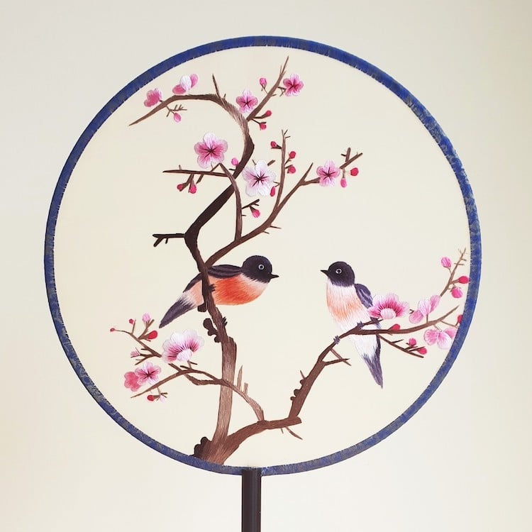 Embroidered Chinese Silk Fans by House of Peach Blossoms