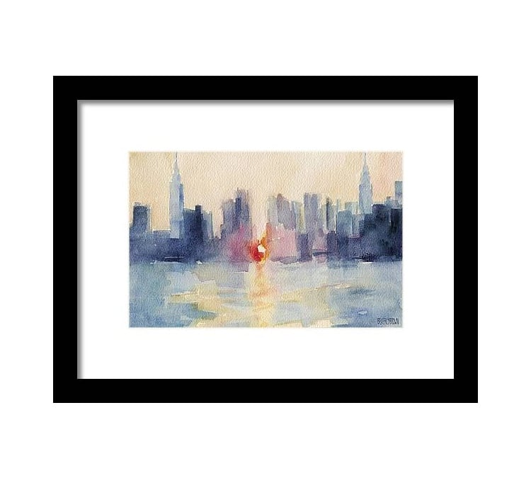 Manhattan Skyline Watercolor by Beverly Brown