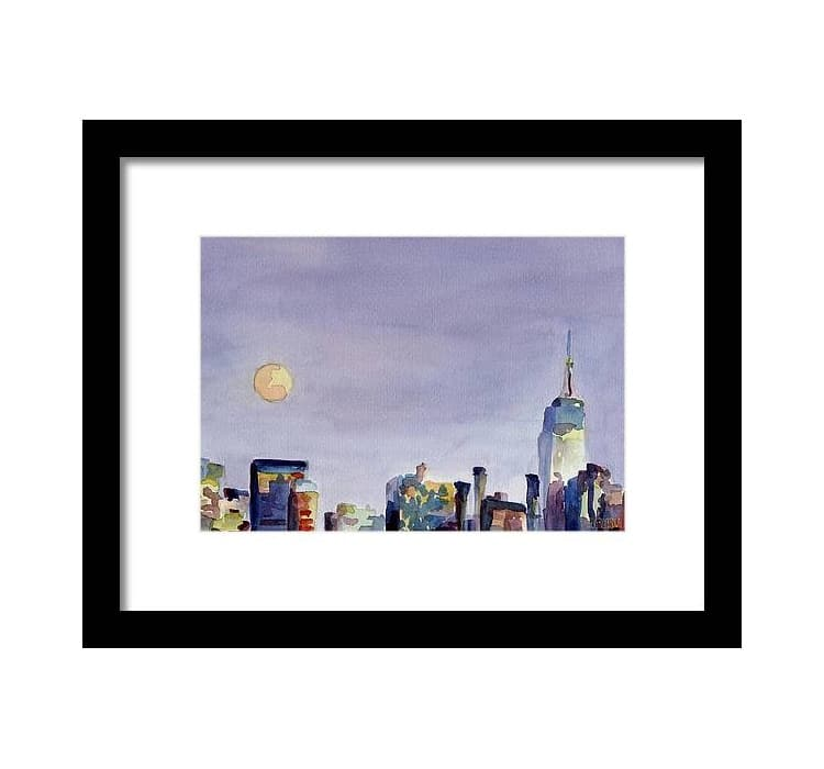 Full Moon and Empire State Building Watercolor by Beverly Brown