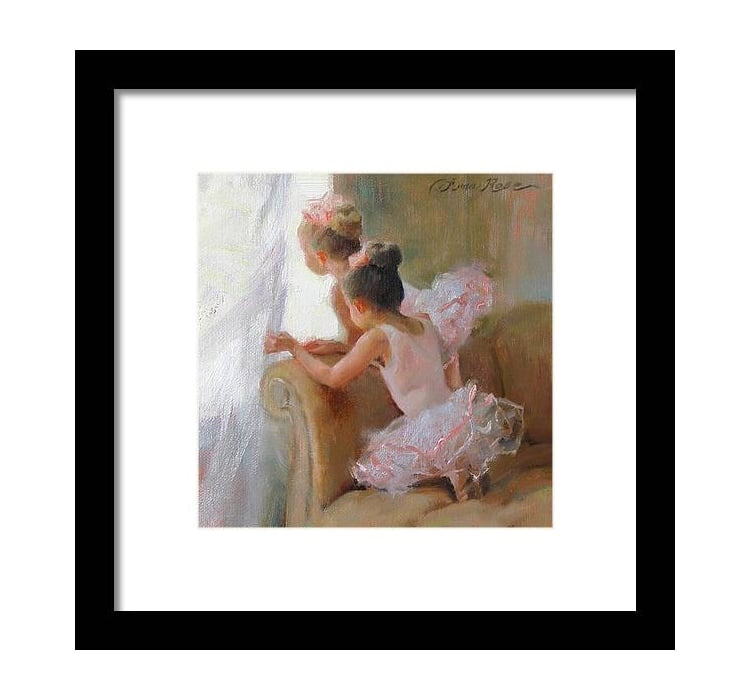 Little Girls in Tutus Framed Art Print by Amy Bain