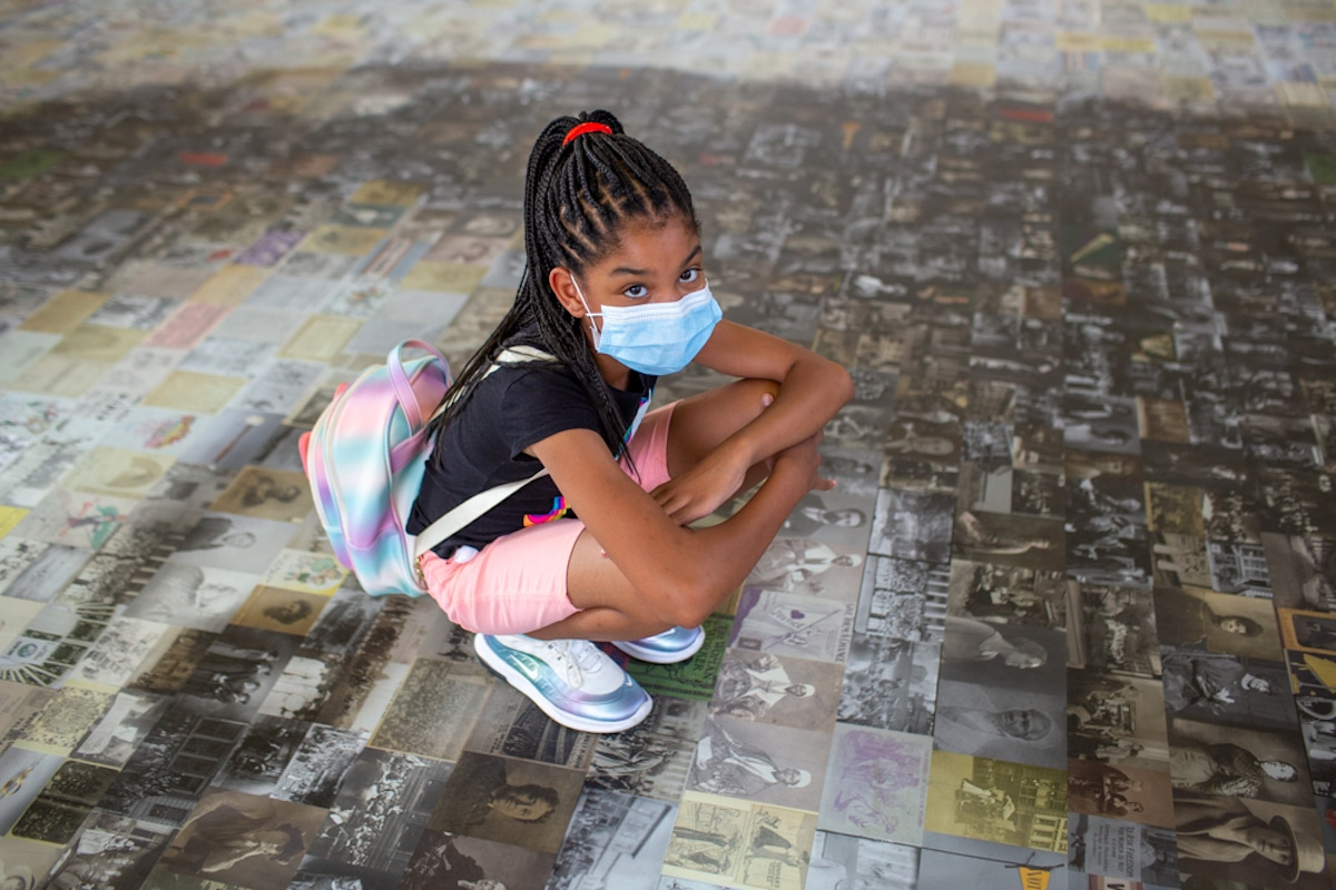 Child at Ida B. Wells Mosaic at Union Station