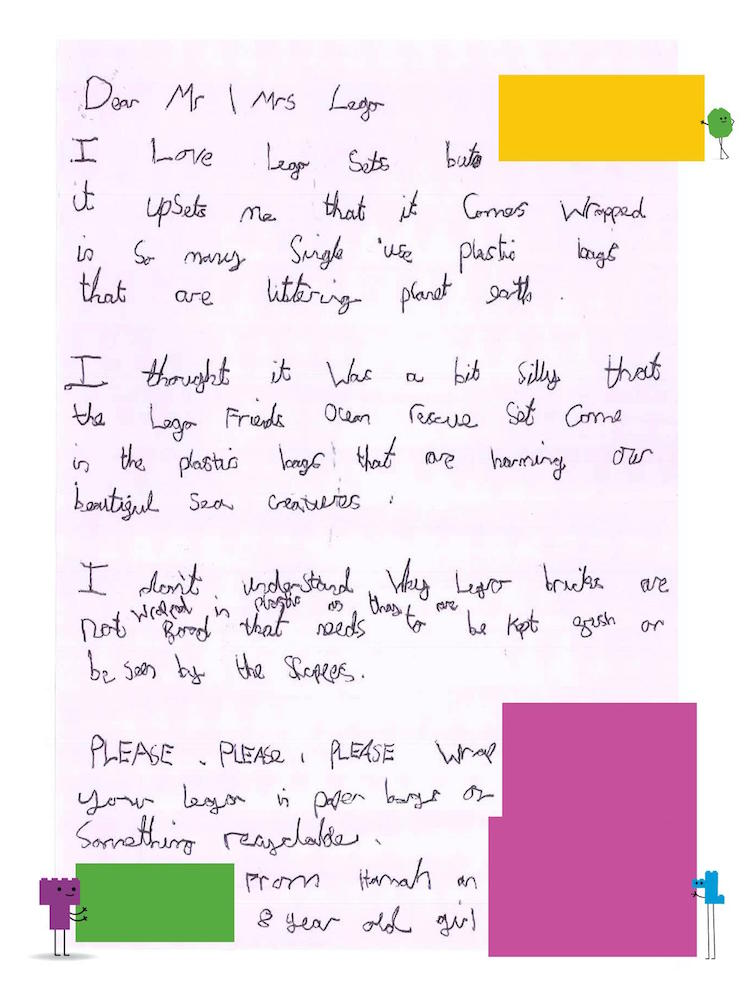 A child's letter to LEGO about sustainability