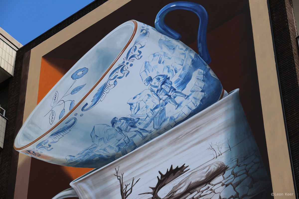 Detail of Teacup Mural by Leon Keer