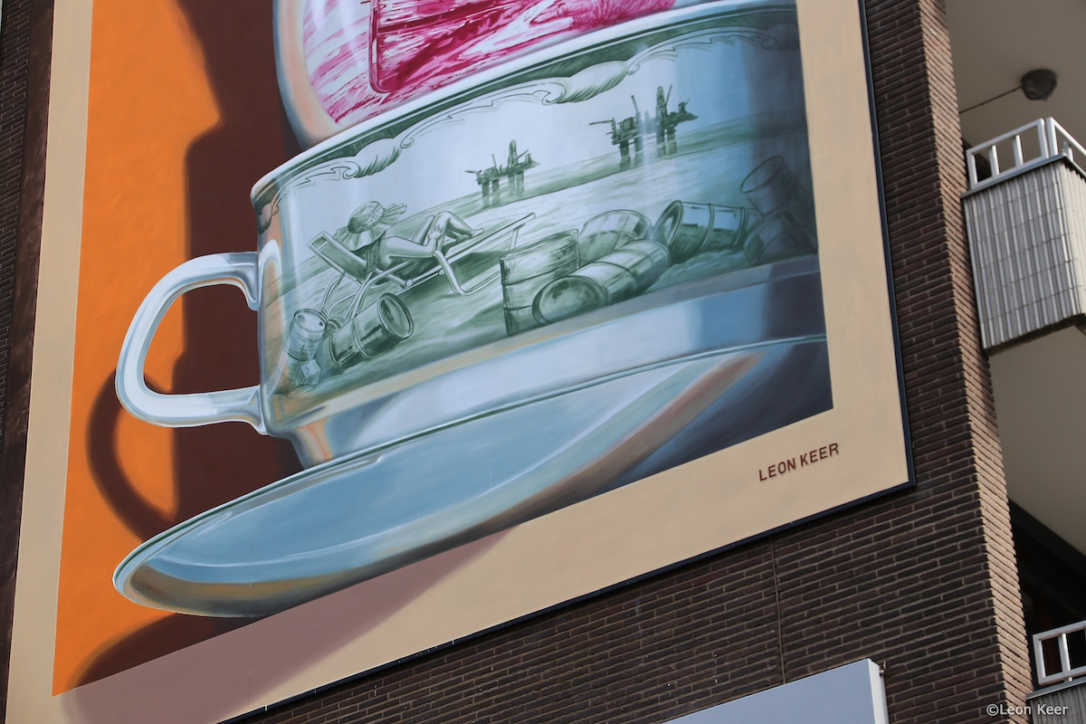 Detail of Anamorphic Mural by Leon Keer