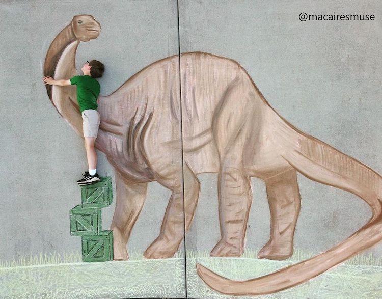 Chalk Drawing of a Dinosaur