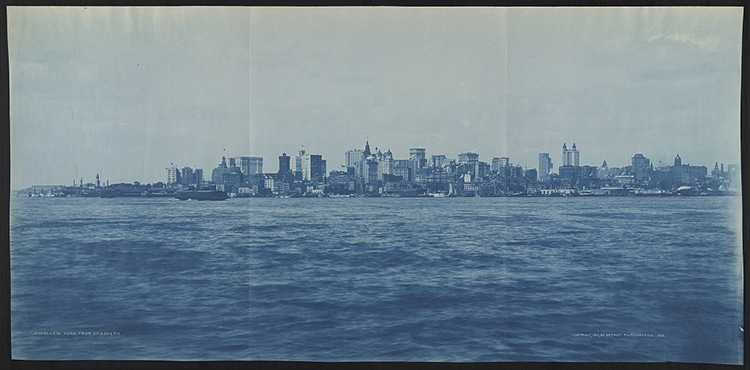 Manhattan From Brooklyn Cyanotype