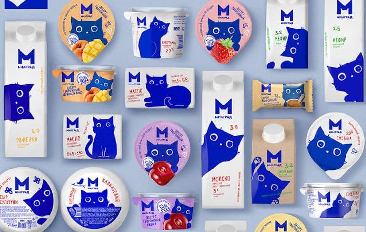 carton de leche con gato azul por Vera Zvereva