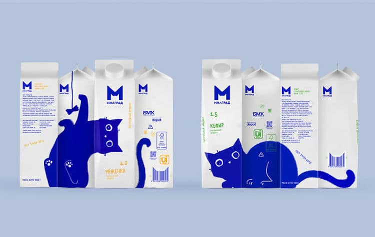 Blue Cat Milgrad Milk Packaging by Vera Zvereva