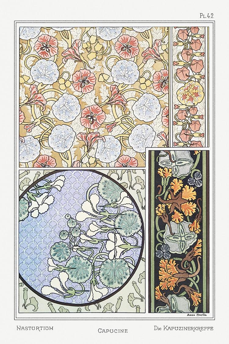Nasturtium Grasset Floral Motif
