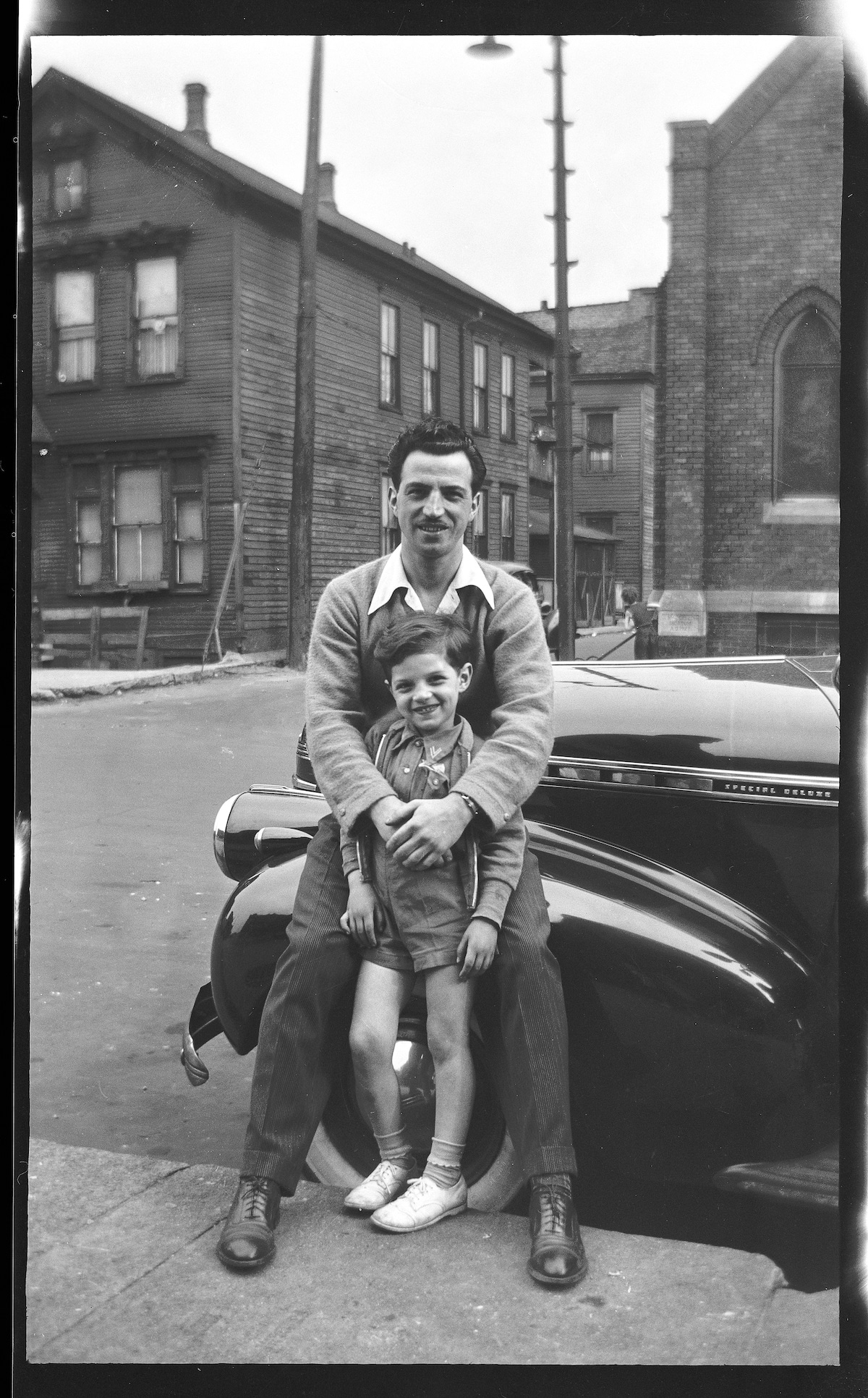 Father and Son in Front of a Car in 1930s Chicago