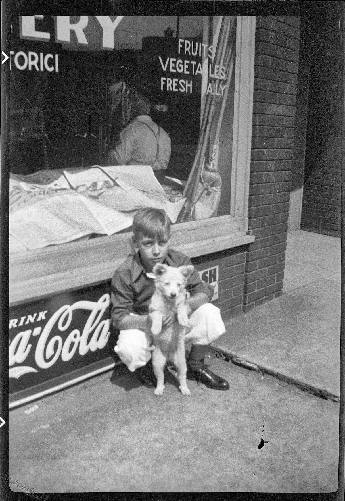 Young Boy in 1930s Chicago with His Dog