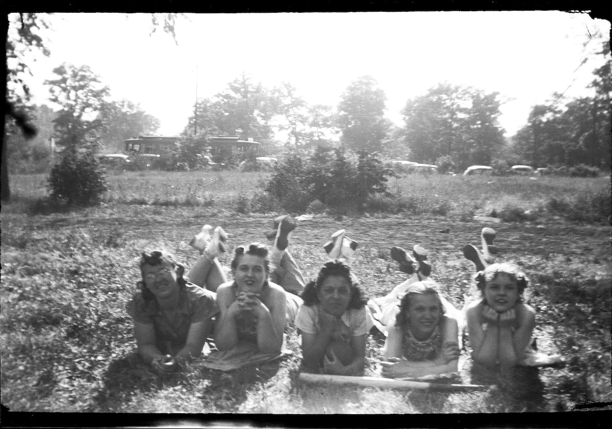 Vintage Photo of a Group of Girls Lying in the Grass