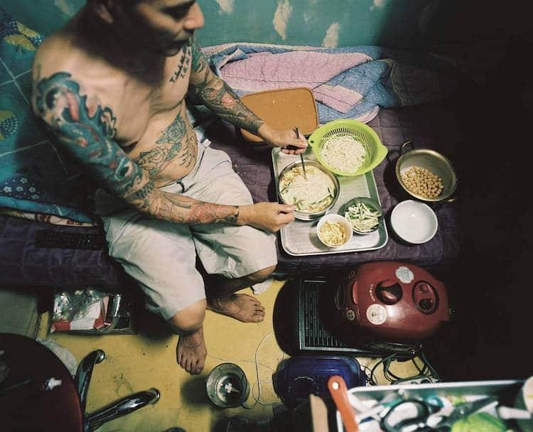 Man Eating in a Goshiwon