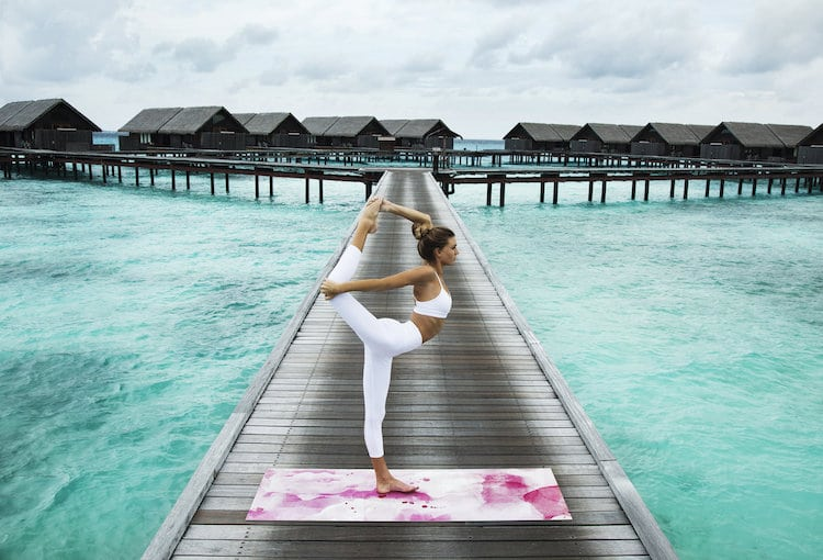 Girl Doing Yoga in Exotic Location on a Cute Yoga Mat