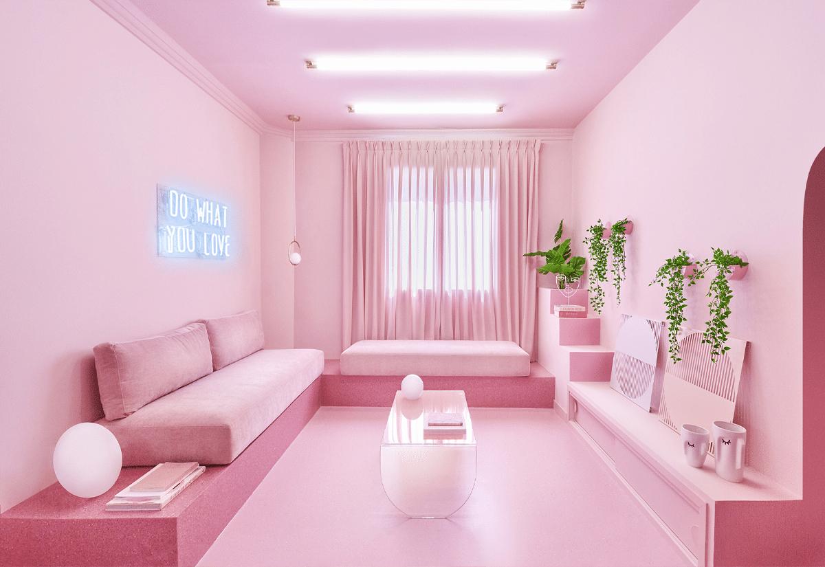 Departamento rosa en Madrid diseñado por Patricia Bustos Studios