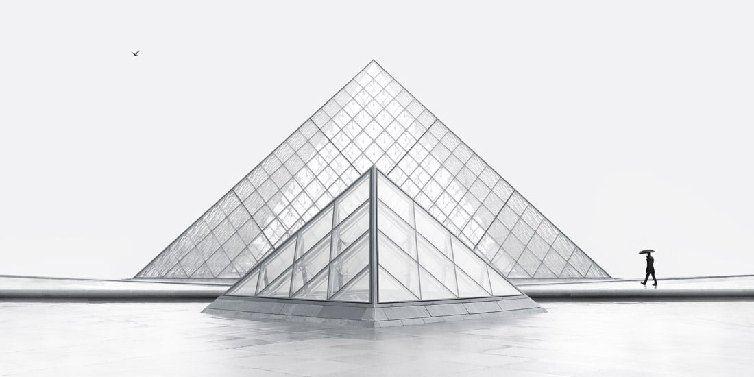 Panorama of Glass Pyramids at the Louvre