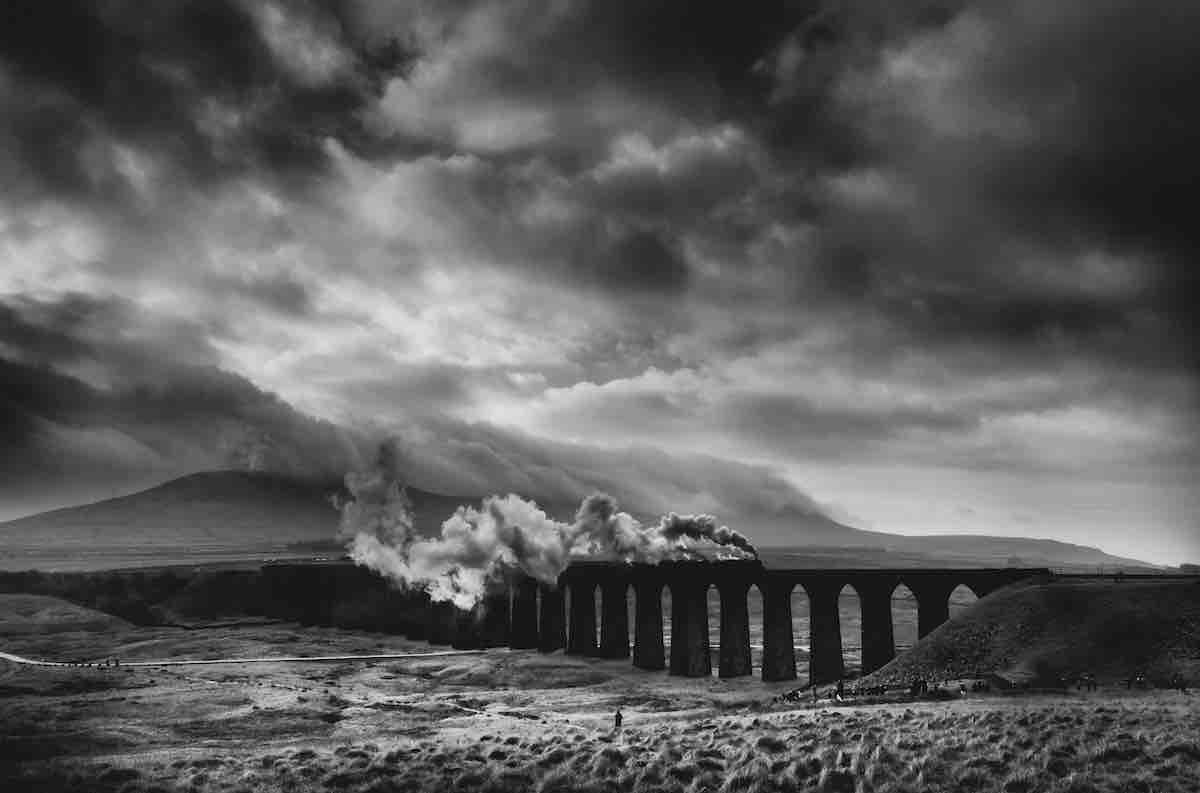 Train Passing Over Ribblehead Viaduct