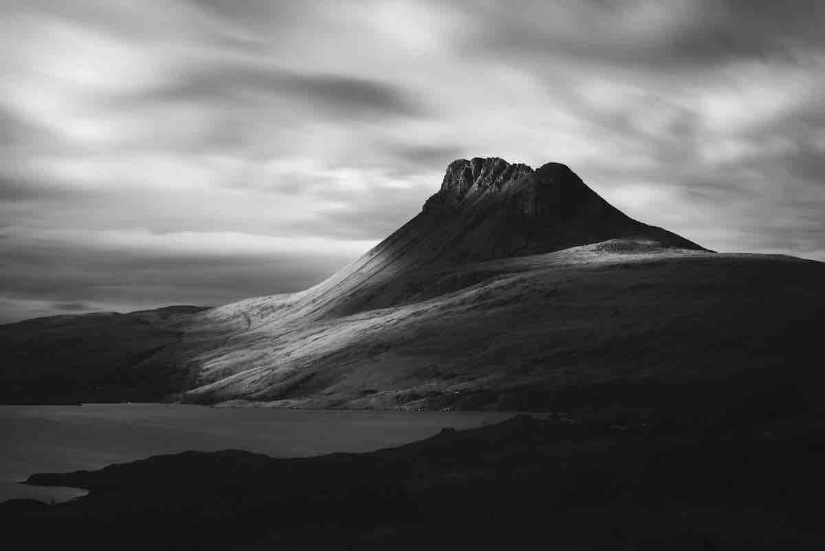 Black and White Photo of a Mountain the UK Highlands