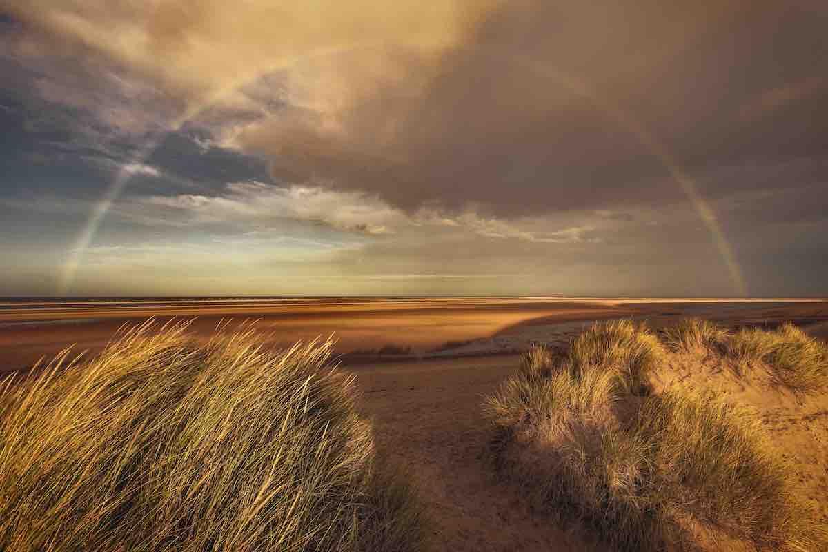 Rainbow Over Sand Dunes