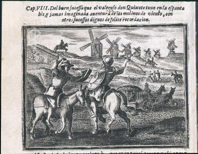 Don Quijote luchando contra los molinos de viento
