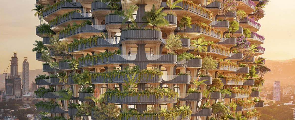 Balconies on Rainbow Tree Tower in the Philippines