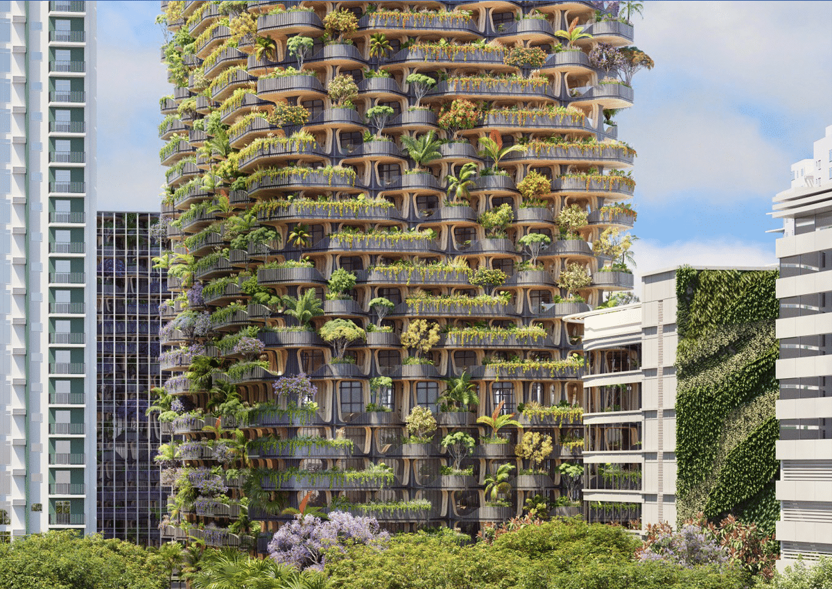 Exterior Rendering of Rainbow Tree Tower in the Philippines