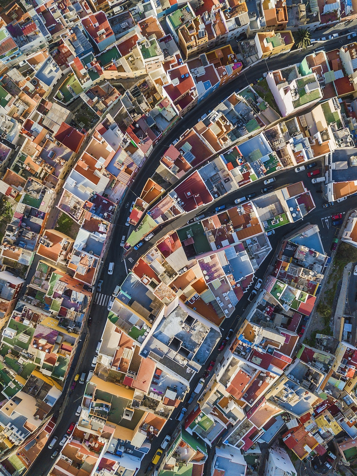 Aerial View of Colorful Houses in Spain