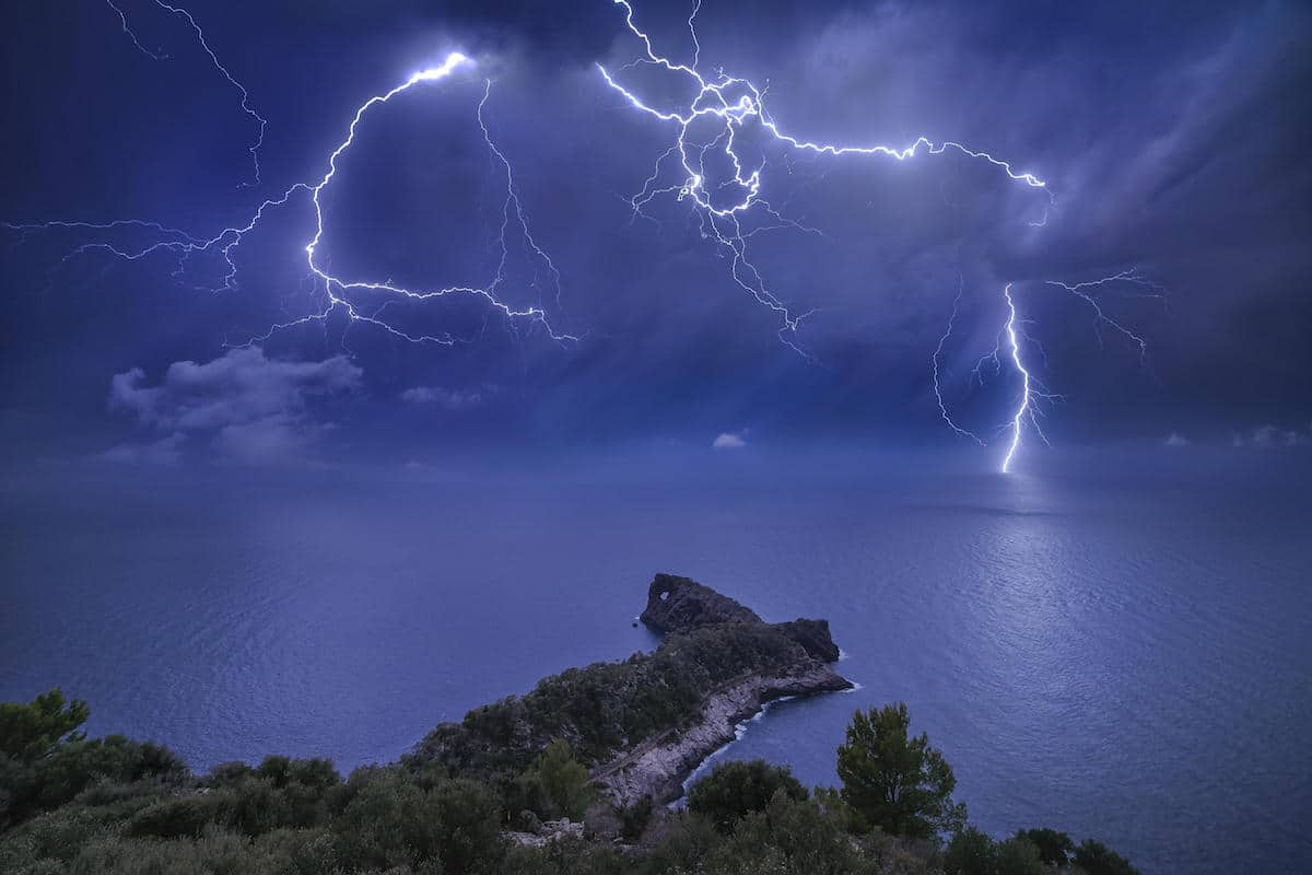 Lightning at Sa Foradada Rock