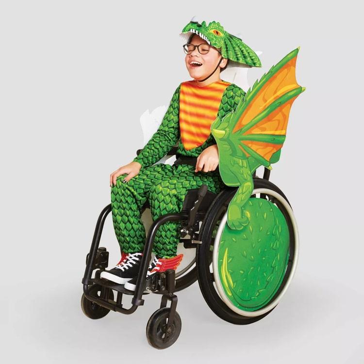 Disfraz de dinosaurio para niños en silla de ruedas