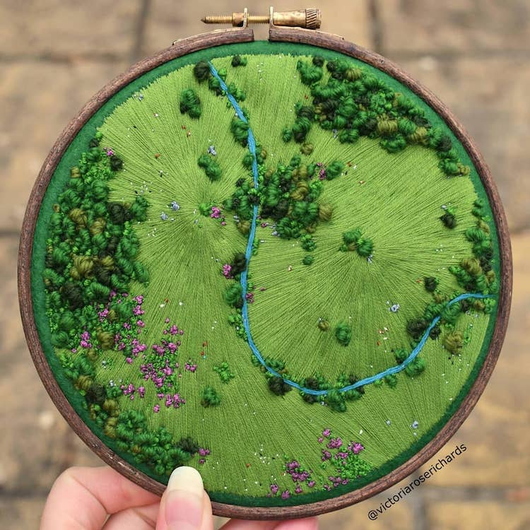 Aerial Landscape Embroidery by Victoria Rose Richards